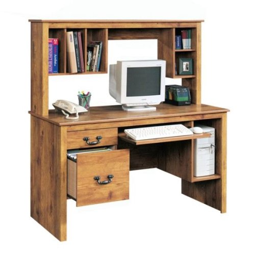 Pine Finish Computer Desk w/ Hutch & File Cabinet Drawer