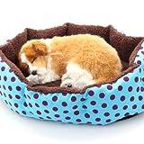 Masione Pet Bed Dog Puppy Cat Soft Cotton Fleece Warm Nest House Mat (Light Blue)