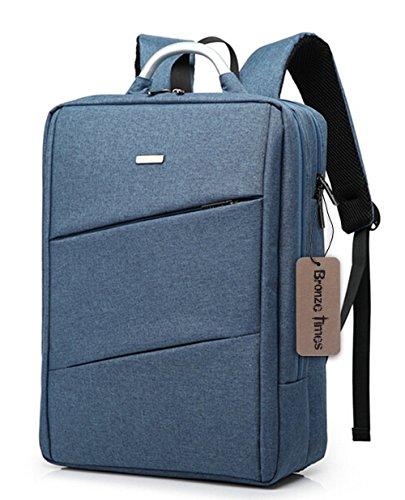 Bronze Times (TM) 15.6 inch Premium Water Resistant Canvas Laptop Briefcase Travel Backpack (C-Blue)