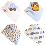 Zippy Fun Bandana Bibs for Babies and Toddlers (Cute set for Boys) (Pack of 4)