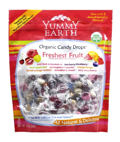 YummyEarth Organic Candy Drops, Assorted Fruit Flavors, 13-Ounce Pouches (Pack of 4)