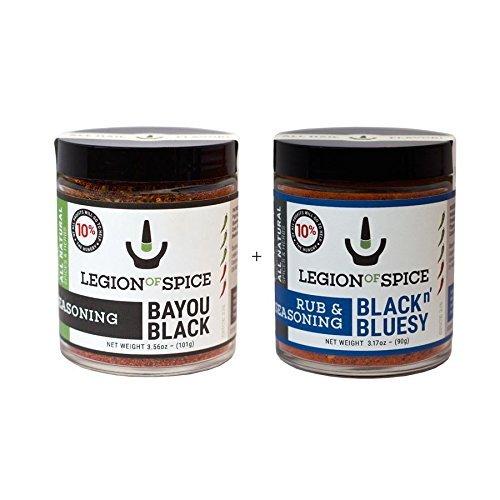 Legion of Spice Bayou Black & Black n' Bluesy Rub & Seasoning Combo Pack - Best Cajun & Cajun and Blue Cheese Flavor Seasonings by Legion of Spice (Combos Blue Cheese compare prices)