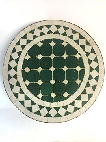 ORIGINAL Arabischer Mosaiktisch Marrakesch Gruen Weiss – Rund 40cm günstig online kaufen