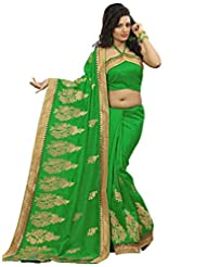 Alethia Green Bhagalpuri Silk Indian Wear Heavy Embroidery Sarees With Unstitched Blouse