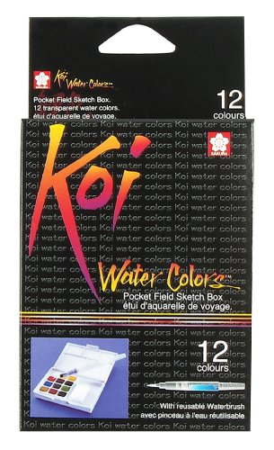 12 Colors Koi Water Colors Pocket Field Sketch Box XNCW12H