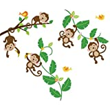 Monkeys Swinging On Vines Giant Peel & Stick Nursery/Baby Wall Sticker Decal