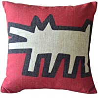 Modern Keith Haring Creative Abstract Animal Painting Red Beige Sofa Simple Home Decor Design Throw Pillow Case Decor Cushion Covers Square 18*18 Inch Beige Cotton Blend Linen by zeper