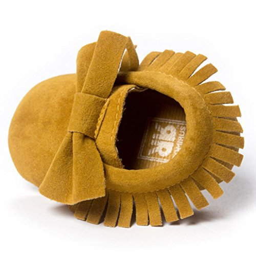 Perman Baby Flats Crib Tassels Bowknot Infant Boy Girl Shoes Toddler Sneakers (11cm/0-6M, Yellow)