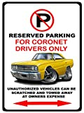 1967 Dodge Coronet RT Muscle Car-toon No Parking Sign