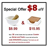 Coasters for Drinks - Set of 4 Pcs Bamboo Coasters with Porcelain Holder - by Sweese