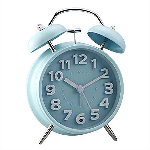 """Japace® 4"""" Vintage Snooze Réveil à Double Cloche avec Veilleuse Silencieux Rétro / Pendulette Ancien de Table Quartz Analogique sans Tic Tac Mat - Bleu"""