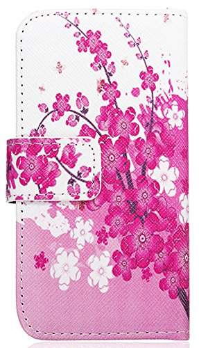 Mylife (Tm) White And Blush Pink Spring Flower - Contemporary Design - Textured Koskin Faux Leather (Card And Id Holder + Magnetic Detachable Closing) Slim Wallet For Iphone 5/5S (5G) 5Th Generation Itouch Smartphone By Apple (External Rugged Synthetic Le