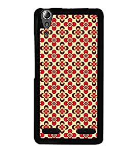 Fuson Premium 2D Back Case Cover Red floral pattern With Grey Background Degined For Lenovo A6000 Plus