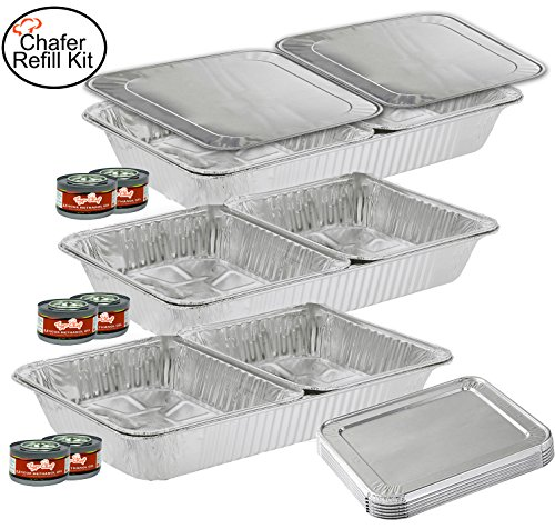 TigerChef TC-20519 Chafer Pans Set, Includes 3 Full Size Aluminum Steam Table Pans, 6 Half Size Aluminum Foil Pans with 6 Lids and 6 Gel Fuel Cans