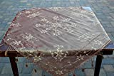 "Table Cover Embroidered Tablecloth Tasseled Overlay Mocha 44""x44"""