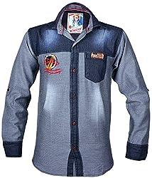 Kidzee 100% Cotton Fashionable Black Color Designer Cotton Plain Denim Shirt