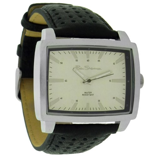 Ben Sherman Gents R923 Black Faux Leather Strap With Silver Rectangular Dial Watch