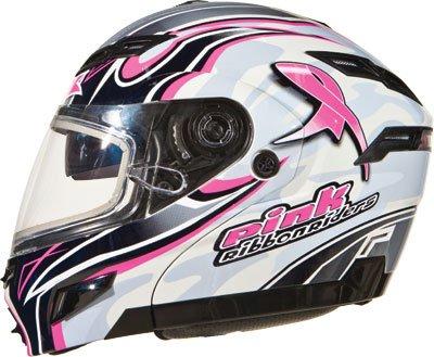 G-Max Gm54S Pink Ribbon Rider Helmet , Distinct Name: Pink Ribbon, Gender: Mens/Unisex, Helmet Category: Snow, Helmet Type: Modular Helmets, Primary Color: White, Size: Xs 2543403 Tc-14