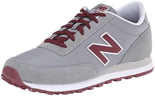 New Balance Men'S Ml501 Classic Running Shoe,Light Grey/Burgundy,9.5 D Us