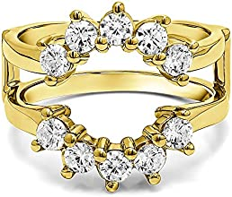 10k Gold Sunburst Style Ring Guard with White Sapphire 05 ct twt