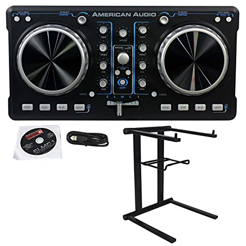 Package: American Audio ELMC1 2 Channel DJ MIDI USB Controller With Virtual DJ LE Software included + Rockville RLS2400 Lightweight Folding DJ Laptop Stand (Software Virtual Dj compare prices)