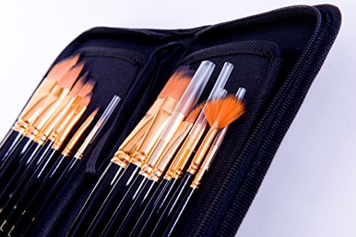 Mont Marte 15pce Art Paint brushes set for Watercolor, Acrylic, Oil, Great for Artists & Kids via Amazon