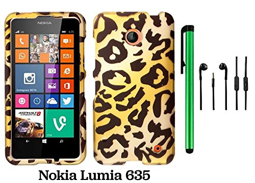 Nokia Lumia 635 (Us Carrier: T-Mobile, Metropcs, And At&T) Premium Pretty Design Protector Cover Case + 3.5Mm Stereo Earphones + 1 Of New Assorted Color Metal Stylus Touch Screen Pen (Gold Leopard)