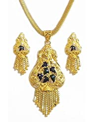 Gold Plated Chain With Meenakari Pendant And Earrings - Metal