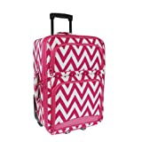 New Fashion Trendy Luggage Rolling 9120 Chevron Fuchsia - 021 SWT