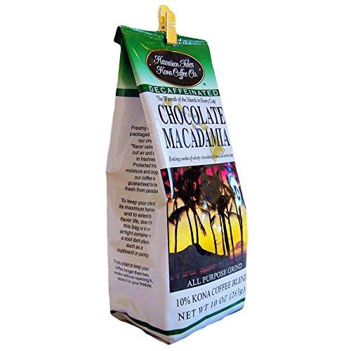 Hawaiian Isles Kona Coffee Ground Chocolate Macadamia 10 Oz. Bag Decaf