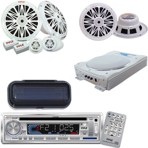 Pyle Marine Radio Receiver, Speaker And Amplified Subwoofer System Package - Plcd3Mr Am/Fm-Mpx In -Dash Marine Cd/Mp3 Player/Usb & Sd Card Function - Plmrcw1 White Water Resistant Radio Shield - Plmr62 200 Watts 6.5'' 2 Way White Marine Speakers - Plmr6K