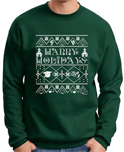 Ugly Christmas Sweater For Teachers Premium Crewneck Sweatshirt Xxx-Large Deep Forest