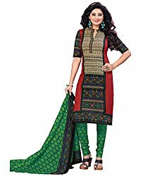 Aarti Apparels Women's Cotton Unstitched Dress Material_BeautyQueen-14_Green and Red