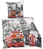 London Bus Single Duvet Cover & Pillowcase Set - 100% Cotton