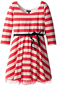 ZUNIE Big Girls' Striped Skater Dress with Tulle, Coral/Oatmeal, Large
