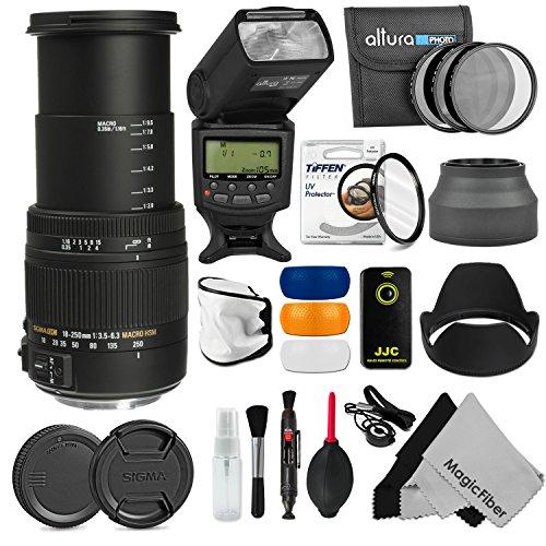 Sigma 18-250Mm F/3.5-6.3 Dc Macro Os Hsm Telephoto Zoom Lens + 62Mm Complete Accessory Kit For Nikon Dslr D7100 D7000 D5300 D5200 D5100 D5000 D3300 D3200 D3100 D3000 Cameras