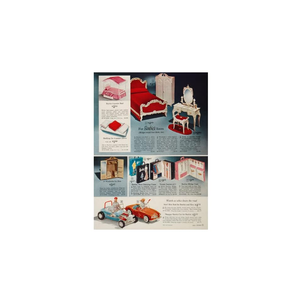 1963 Ad Barbie Ken Doll Bed Furniture Car Carrying Case   Original Print Ad