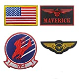 Maverick, Brave Witches Logo VF-1, Wings Crest, American US Flag Embroidered Patch Military Tactical Morale Fastener Hook Loop Backing Patches Cosplay Costume Appliques Badges 4PCS (Color: C)