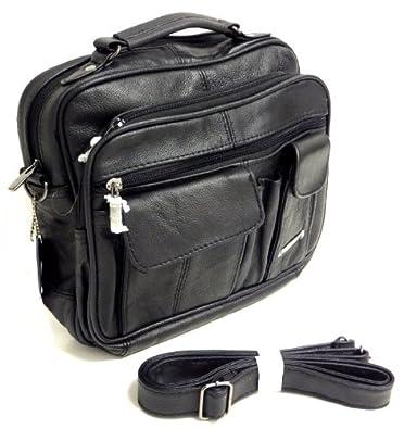 Black Leather Organiser Shoulder Bag 91