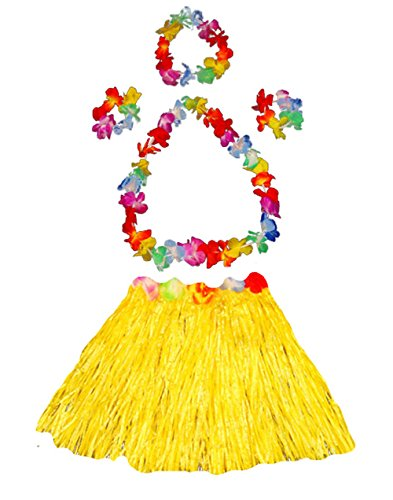 Girl's elastic Hawaiian hula dancer grass skirt with flower costume set-yellow