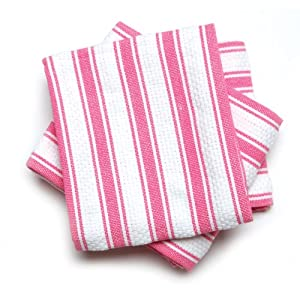Mahogany Basket Weave Kitchen Towels with Color Stripes , Set of 3
