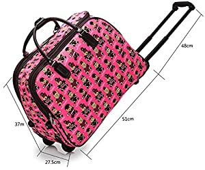 LIGHTWEIGHT Ladies Girls, (High Quality Fashion) Cabin Travel Holdall Trolley Hand Luggage Wheeled Suitcase Bag Light UK Handbag Wheeled Trolley (FASHION BEAR DESIGN) (IDEAL TROLLEY BAG FOR MATERNITY HOSPITAL) COLOUR CORAL