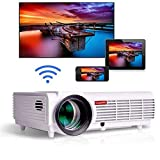 Gzunelic 4200 lumens Android Wifi 1080p Video Projector LCD LED Full HD Theater Proyector with Bluetooth Wireless Mirror to Smart Phones by Airplay or Miracast Ideal for Home Entertainment … (Color: 4200 lumens Wifi Projector)