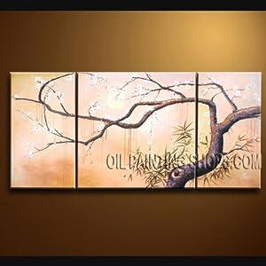 "Original Fine Art Plum Blossom Tree Impressionist Landscape Oil Painting Signed Original By Bo Yi Art Studio 60"" x 30"""