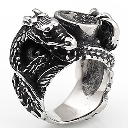 Lovejewelry Stainless Steel Gothic Dragon Tai Chi Ba-Gua Biker Men'S Ring, Black Silver