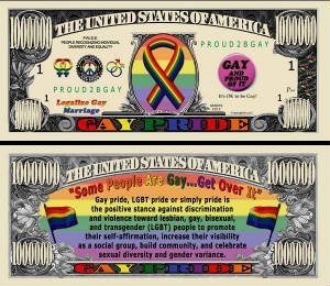 Gay Pride Million Dollar Novelty Bill - 1
