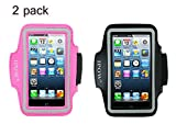 Ipow Iphone 5/5s/5c Sport Armband Belt Strap Band Sleeve Case Cover + Key Holder for Running Jogging Gym Workout (2 pack(Hot pink + Black)) Reviews