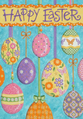 Whimsical Decorated Easter Eggs Happy Easter Holiday Garden Flag