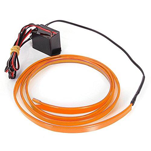 AUDEW 1M Cavo EL Wire Neon Garland elettroluminescente luminoso (EL Wire) Decorazione per auto, biciclette, Guidare, Natale, Party, Party, Compleanno, Edificio, Casa Blu DC 12V Arancione