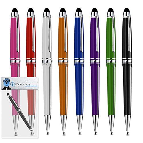 8-black-pack-blu-verde-arancione-rosa-viola-rosso-bianco-pro-tocco-capacitivo-punta-della-penna-stil